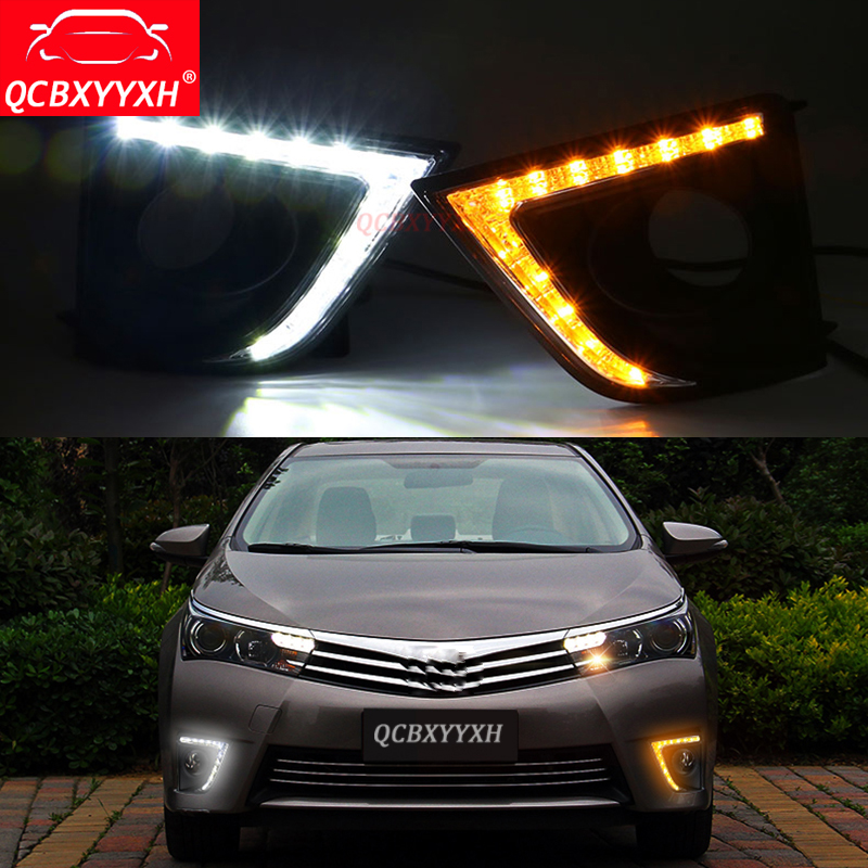 QCBXYYXH Car-styling For Toyota Corolla 2014-2018 12V Turning Yellow Signal LED DRL Daytime Running Light Daylight lamps Holes special car trunk mats for toyota all models corolla camry rav4 auris prius yalis avensis 2014 accessories car styling auto