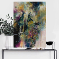 Hand Painted New Design Modern Art Wall Decoration Handpainted Peacock Canvas Oil Painting