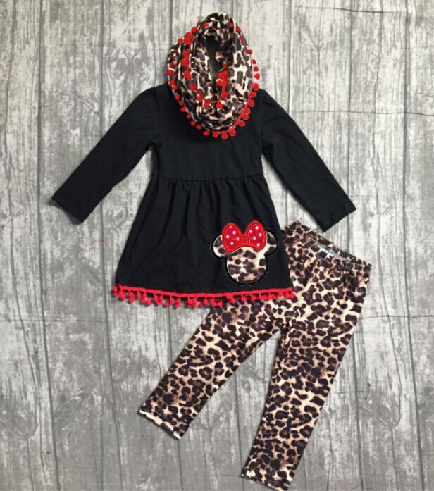 FALL/Winter baby girls outfits 3 pieces with scarf sets girls black top with minnie leapord pants clothing boutique ouotfits girls winter outfits 3 pieces with scarf sets halloween clothing children girl black top with stripes pumpkin pants outfits sets