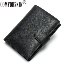 COMFORSKIN New Arrivals Genuine Leather Men Wallet High Quality Cowhide Zipper Purse Large Capacity Multi-Card Bit Wallets