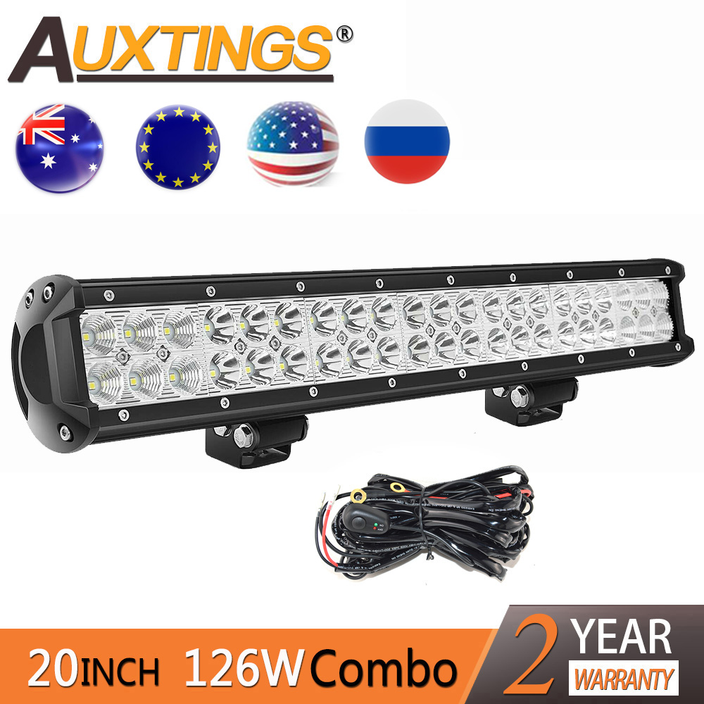 Auxtings 12v 24V 20''  Led Light Bar Dual Rows Led Driving Light IP67 Waterproof Work Light 126W 20 Inch Offroad Car Offroad 4x4