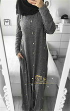 Casual Abayas For Women Pearls Islamic Clothing Long Sleeve Maxi Muslim Dress Gray Bangladesh Kaftan Dubai Turkey Robe 2019(China)