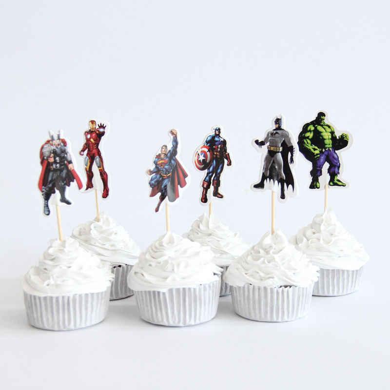 24pac/lot vingadores cupcake topper feliz aniversário festa de chuveiro do bebê crianças festa cake decoração suprimentos