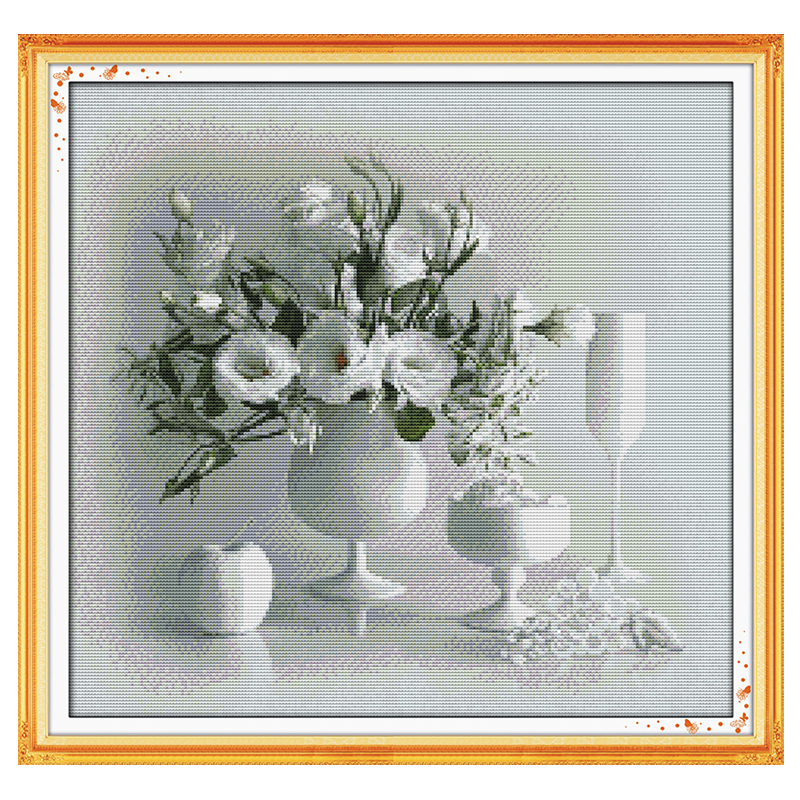 White Vase Patterns Counted Cross Stitch 11CT 14CT Cross Stitch Sets flowers Chinese Cross-stitch Kits Embroidery Needlework