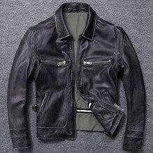 משלוח חינם. מכירות מתנה חדש לגמרי גברים עור פרה מעיל. חורף חם גברים של אמיתי עור מעיל. vintage סגנון איש עור בגדים