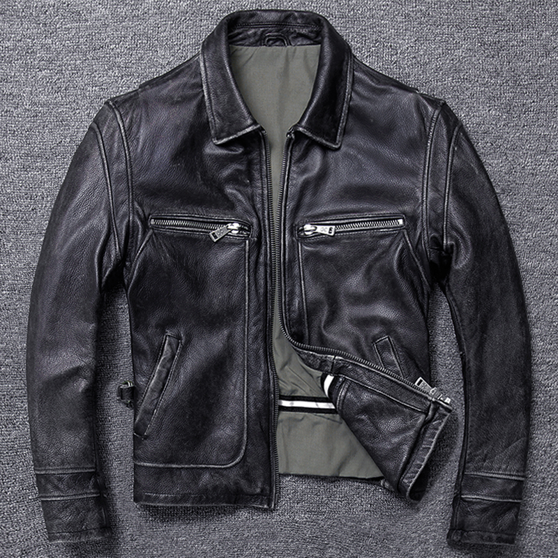 Free Shipping.sales Gift Brand New Men Cowhide Coat.winter Warm Men's Genuine Leather Jacket.vintage Style Man Leather Jacket,