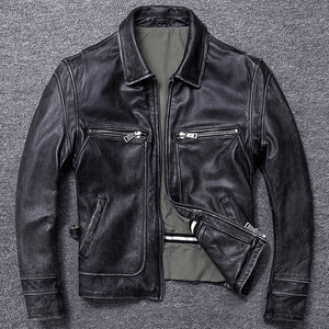 Image 1 - Free shipping.sales gift Brand new men cowhide coat.winter warm mens genuine Leather jacket.vintage style man leather clothes