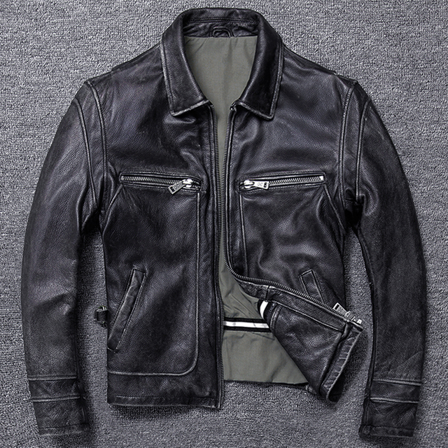 Free shipping.sales gift Brand new men cowhide coat.winter warm mens genuine Leather jacket.vintage style man leather clothes