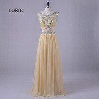 LORIE Plus Size Prom Dress Scoop A Line Chiffon Beaded With Rhinestones Chiffon Yellow Graduation Dresses