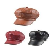 Женские Модные одноцветные Восьмиугольные шапки из искусственной кожи, модные осенне-зимние шапки для мужчин и женщин, повседневные винтажные шапки, аксессуары