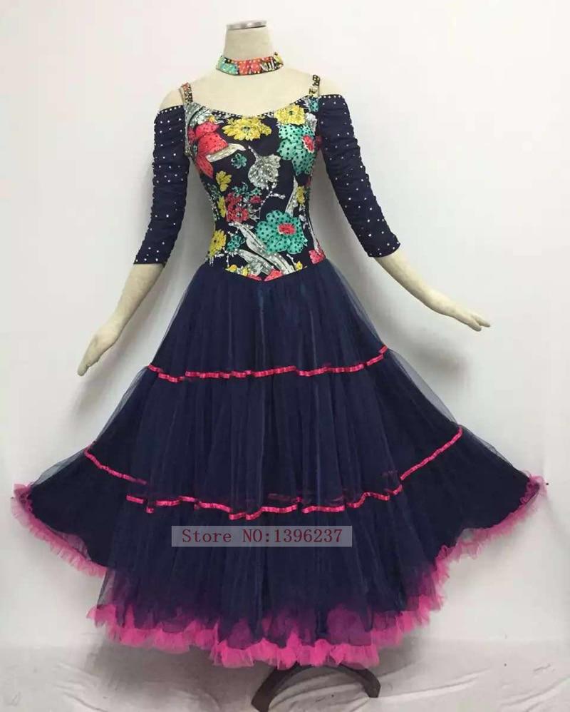 Ballroom font b Dance b font Competition Dresses Women Black Elegant Medium Sleeve font b Tango