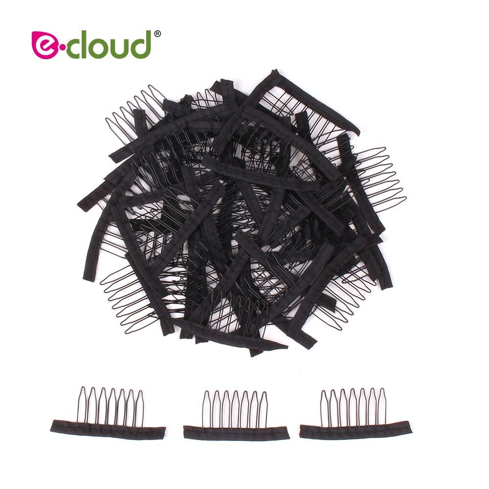 500pcs 1000pcs bag Wig Cap Clips 7 Teeth Steel Polyester Durable Black Wig Snap Comb Wig