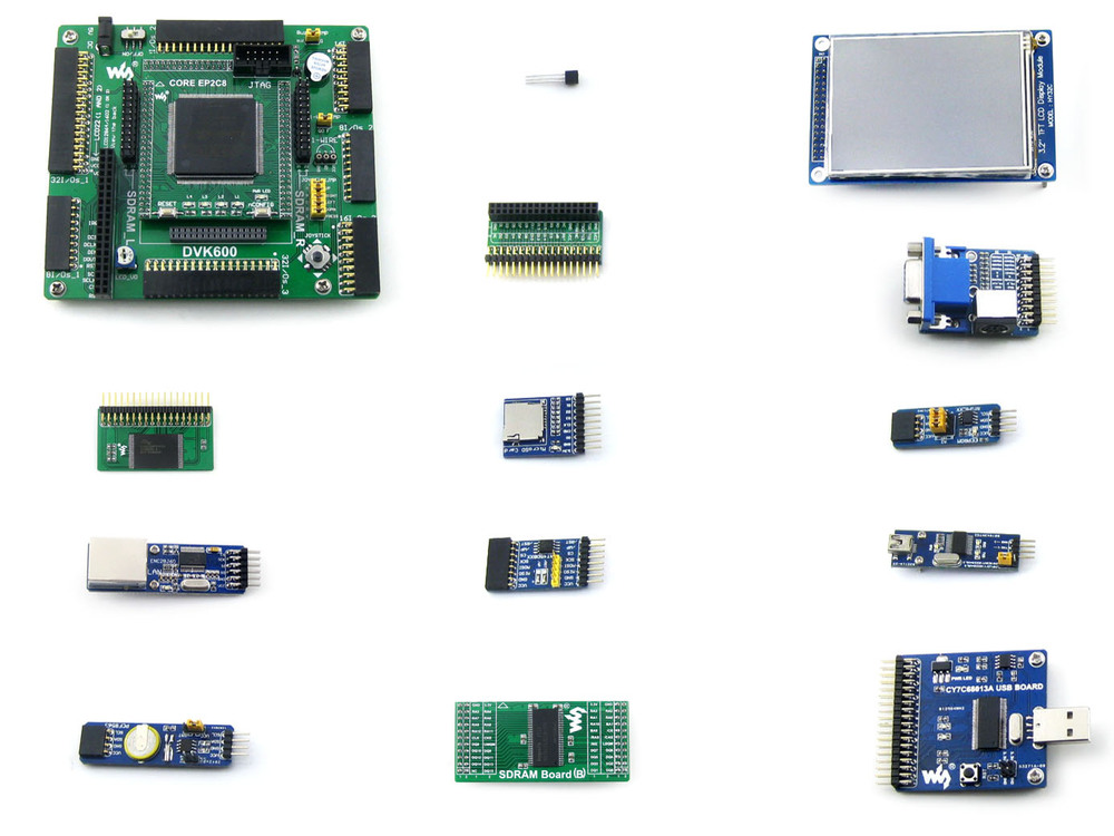 Waveshare EP2C8Q208C8N ALTERA Cyclone II FPGA Development Board+3.2inch 320x240 Touch LCD+12 Modules Kits= OpenEP2C8-C Package A xilinx fpga development board xilinx spartan 3e xc3s250e evaluation board kit lcd1602 lcd12864 12 modules open3s250e package b