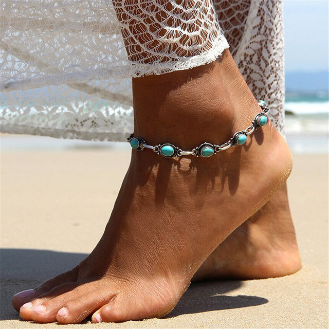 f5292dd5860b GIVVLLRY Gypsy Blue Stone Ankle Bracelet Vintage Barefoot Sandals Anklet  Foot Jewelry Beach Ethnic Geometric Anklets for Women