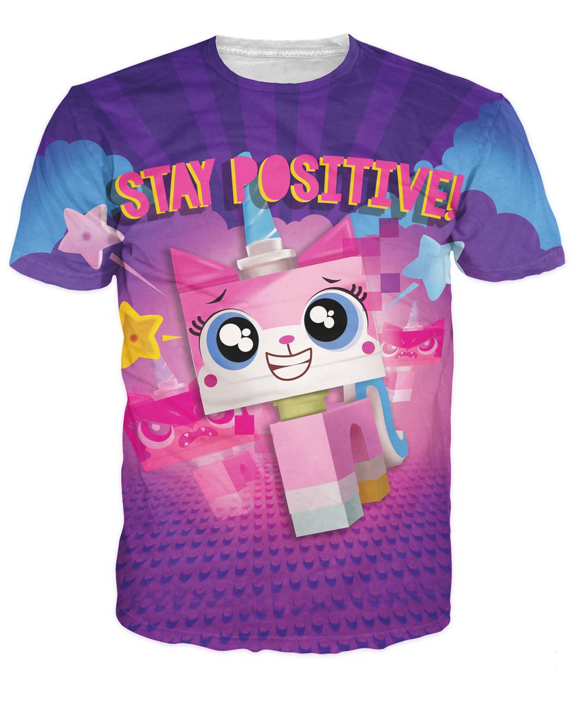 Stay positive t shirt unikitty tops women men tshirt summer style graphic tee harajuku casual tubmlr t shirts pullover in t shirts from womens clothing