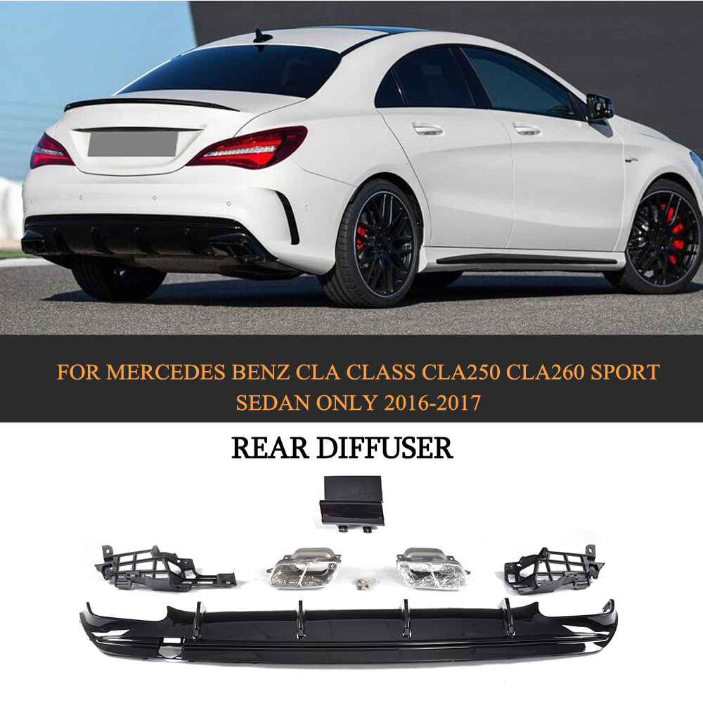 Car Style PP Car Rear Diffuser With Exhaust Muffler Tips For Mercedes Benz CLA Class CLA250 CLA260 Sport Sedan Only 2016 2017