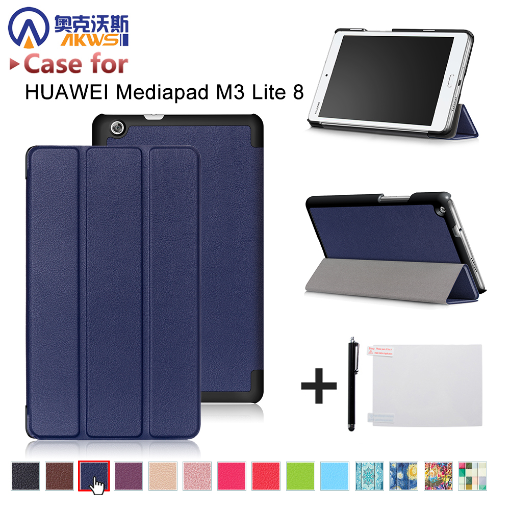 Cover Case for Huawei Mediapad M3 Youth Lite 8 CPN-W09 CPN-AL00 8 Tablet protective cover skin+free stylus+free film