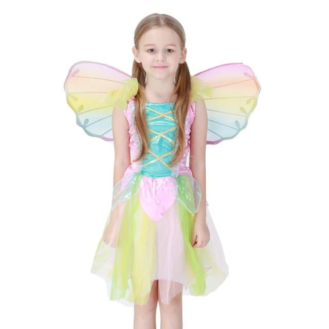 Children Cute Rainbow Angel Dress Girls Butterfly Elf Princess Costume Halloween Cosplay Stage Performance Party Fancy  sc 1 st  AliExpress.com & Children Cute Rainbow Angel Dress Girls Butterfly Elf Princess ...