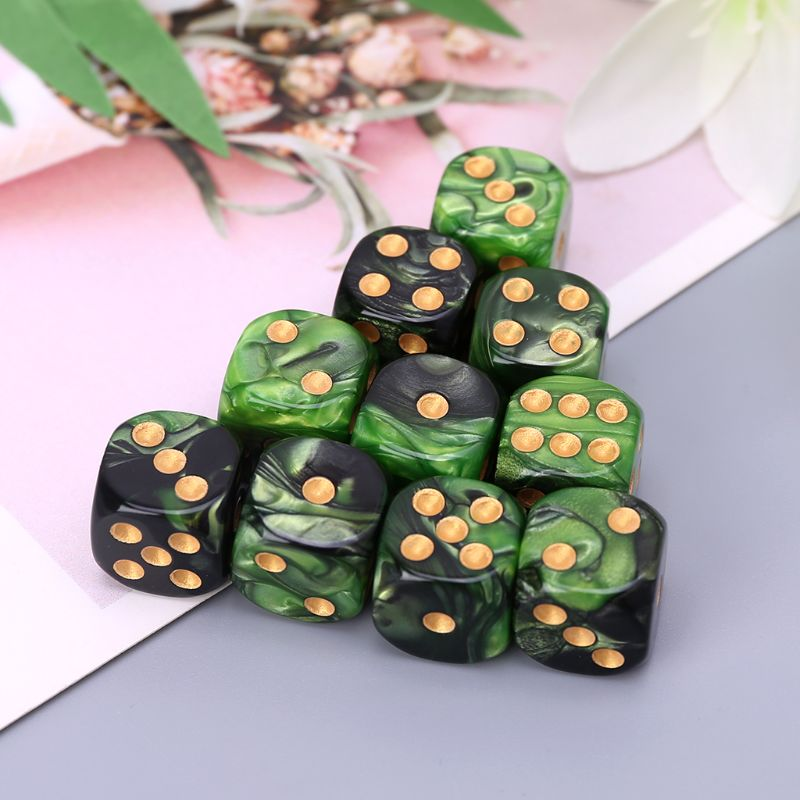 10 Pcs /1 Set 16mm Resin <font><b>Dice</b></font> <font><b>D6</b></font> Black <font><b>Green</b></font> Gold Points Round Edges KTV Bar Nightclub Entertainment Tools Adult Toys image