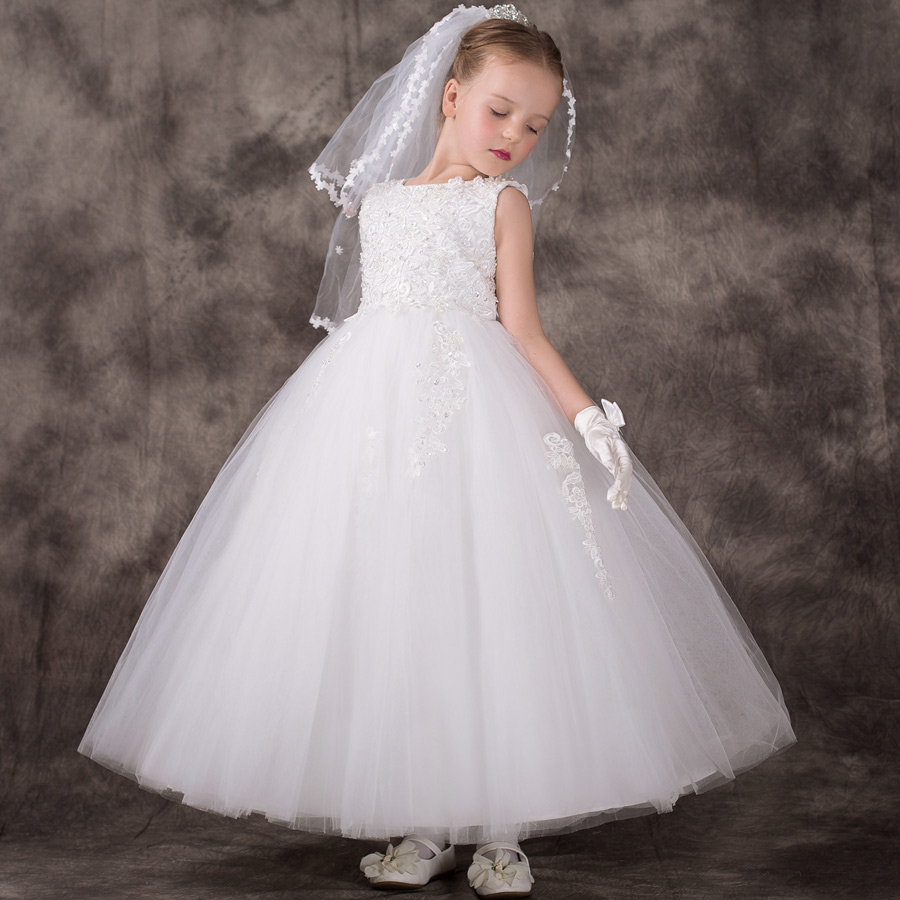 White little flower girls dresses for weddings Baby Party frocks children  images Dress kids prom dresses evening gowns 2018 0c957b47c9cb