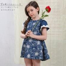 2016 новый дизайн вышивки puff рукавом длиной до колен лето синий цветок девушка одежда платье 3 4 5 6 7 8 9 10 11 12 лет
