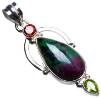 Natural Ruby Zoisite,Peridot and Garnet Handmade Unique 925 Sterling Silver Pendant 2 X1329