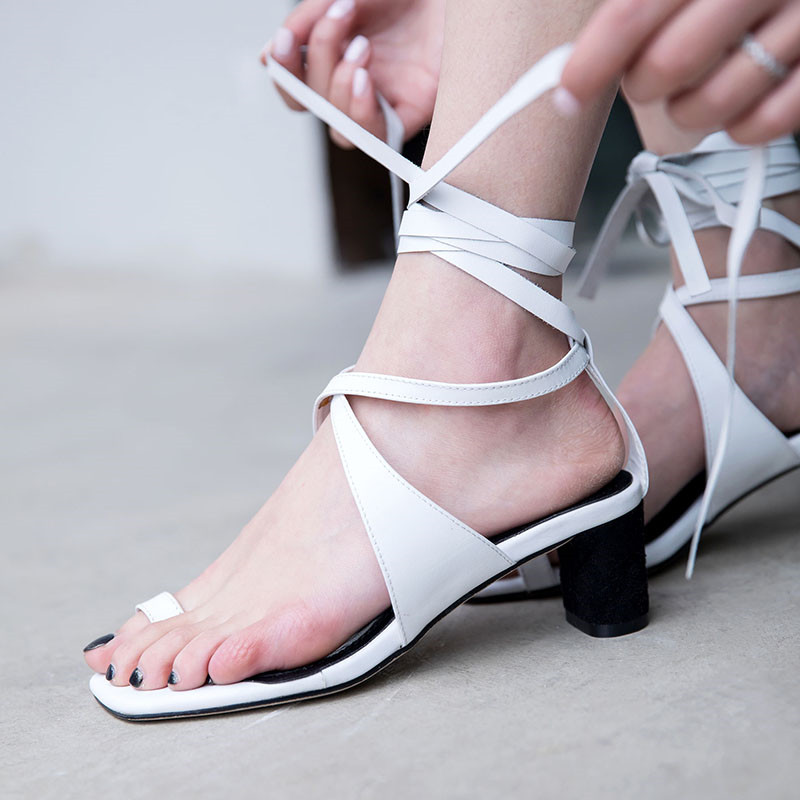 YMECHIC 2018 Knee High Gladiator Sandals Women Shoes Summer Real Leather White Stable High Heel Cross