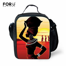 FORUDESIGNS Kids Lunch Bag African Art Girls Portable Picnic Bags Women Thermal Insulated Student Function Box