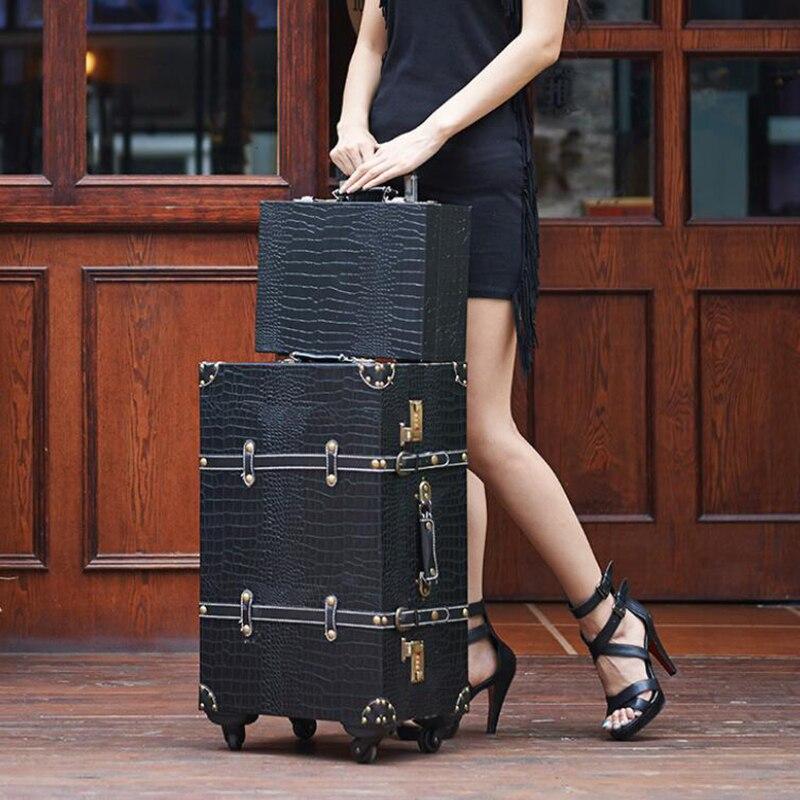 """CARRYLOVE 20 """"24"""" 26 """"inch krokodil patroon vintage koffer trolley tas spinner lederen bagage voor lady-in Rij bagage van Bagage & Tassen op  Groep 2"""