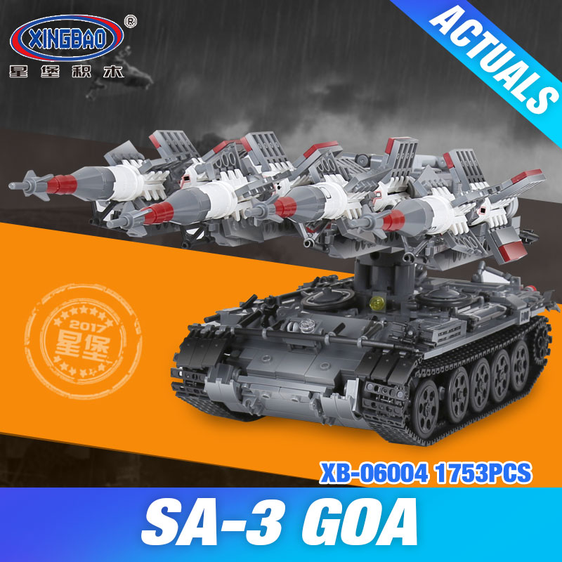 купить Xingbao 06004 1753Pcs Military Series The SA-3 missile and T55 Tank Set Children Educational Building Blocks Bricks Toys Gifts онлайн