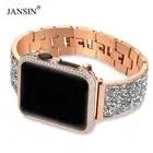 Роскошный бриллиант + ремешок для Apple Watch band 44 мм 40 мм 38 мм 42 мм крышка iWatch Series 5 4 3 2 1 браслет из нержавеющей стали для женщин