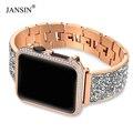 Cassa di lusso del Diamante + strap Per Apple Watch band 44 millimetri 40 millimetri 38 millimetri 42 millimetri di copertura iWatch Serie 4 3 2 1 in Acciaio inossidabile del braccialetto delle donne