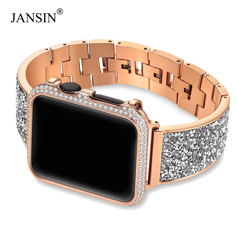 Luxury Diamond Case+strap For Apple Watch band 44mm 40mm 38mm 42mm cover iWatch Series 4 3 2 1 Stainless Steel bracelet women-in Watchbands from Watches    1