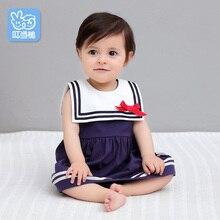 Dinstry  Girls Summer Sleeveless Dress 2018 New Children's Sailor Collar Dress For Girl Child Brand Clothing Kids Clothes