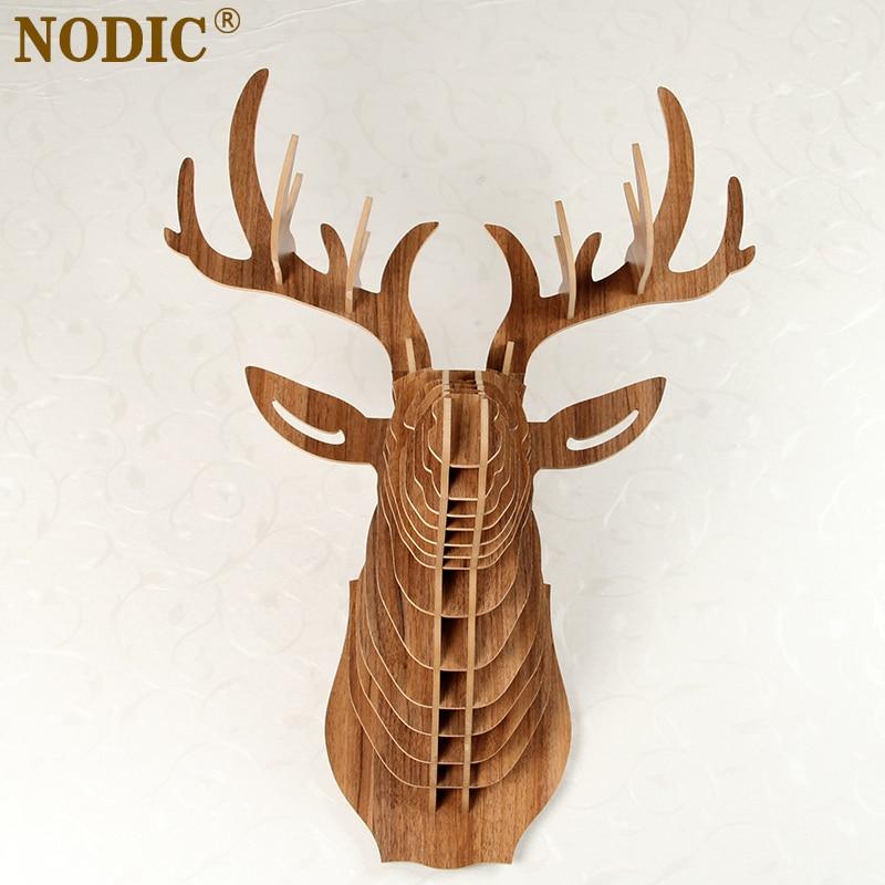 Nodic Deer Head Home Decoration Wall Art Diy Wooden Craft Wall Decor