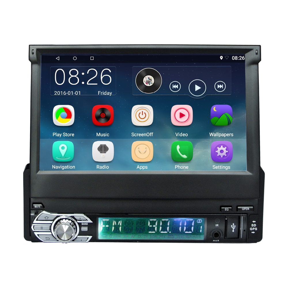 RM CT0008 7 inch 1 Din Android 6.0 Retractable Touch Screen Car DVD Player Multimedia GPS/Bluetooth/FM/Wifi/Mirror Link