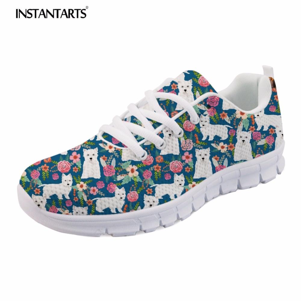 INSTANTARTS Women Casual Comfort Mesh Sneakers Shoes Cute Westie Florals Pattern Woman's Leisure Lace-up Flats Shoes Zapatillas 3d florals pattern u pouch design voile briefs