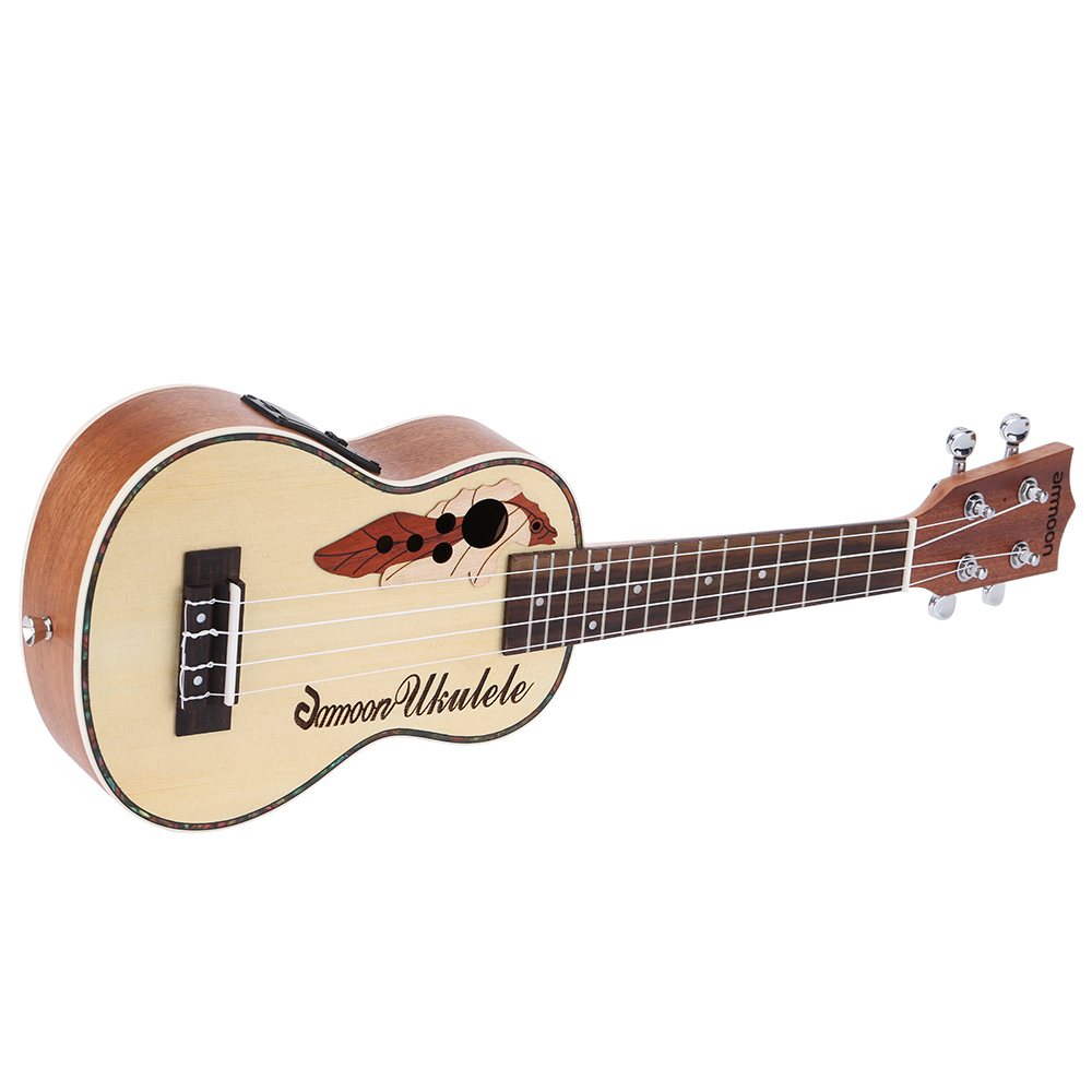 ammoon Spruce 21 Acoustic Ukulele 15 Fret 4 Strings Stringed with Built in EQ Pickup Musical