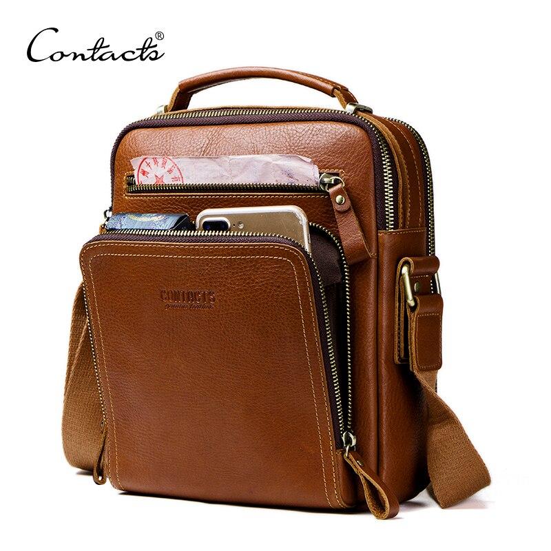 Контакта повседневное для мужчин's курьерские сумки пояса из натуральной кожи сумки на плечо для мужчин Элитный бренд мужской сумка