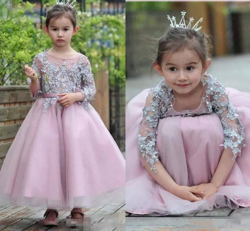 Hot Sales Princess Birthday Dress For Little Girls Appliqued Sleeves Ankle Length Flower Girl Dresses Toddler Pageant Gown ds 1602zj box pole ptz camera vertical pole mount bracket with junction box