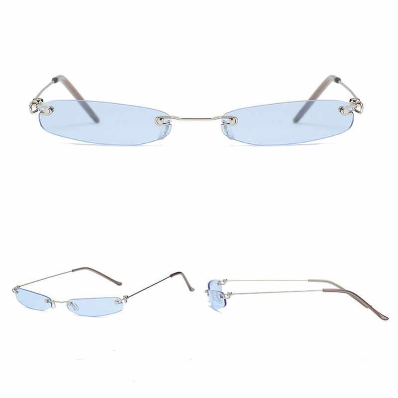 b4a06c7932 ... Tendencia 2018 gafas de sol elegantes sin montura de lujo para mujer  Mini pequeña marca de ...