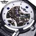 Mens Relojes de Primeras Marcas de Lujo Reloj Automático Ganador Negro Esqueleto Diseñador Azul Grabado Reloj de Los Hombres Correa de Cuero Montre Homme