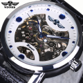 Mens Watches Top Brand Luxury Automatic Watch Winner Black Skeleton Designer Blue Engraving Clock Men Leather Strap Montre Homme