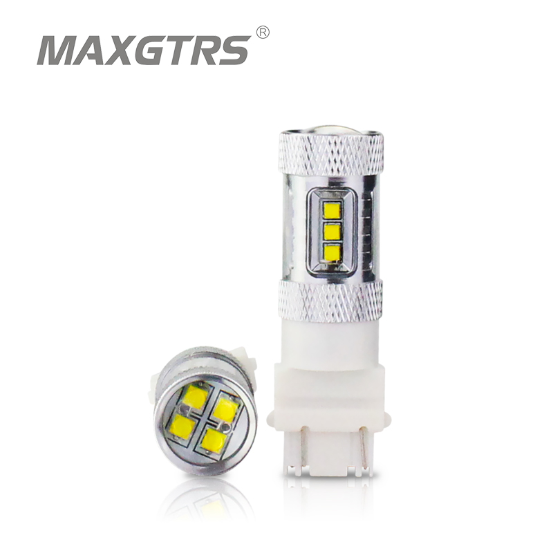 2x <font><b>T25</b></font> 3157 P27/5W P27/7W 30W 50W 80W CREE Chip Car Auto <font><b>LED</b></font> Bulbs Turn Signal Brake Bulbs Brake-up Lamps DRL White/Red/Yellow image