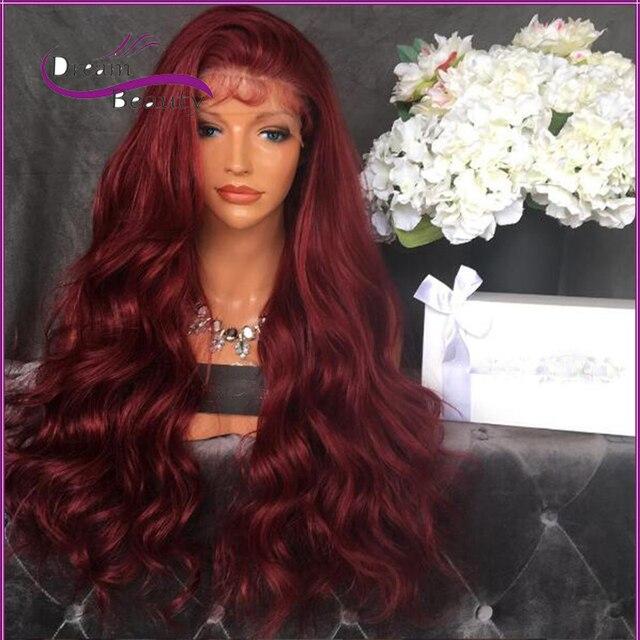 7А Лонг Красный Полное Кружева Человеческих Волос Парики Для Чернокожих Женщин бразильские Волосы Девственницы Объемная Волна Фронта Шнурка Человеческих Волос Парики 130% плотность
