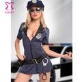 Azul Sexy Adulto Traje Das Mulheres Da Polícia Plus Size 3XL Policial Fancy Dress Cosplay Cop Trajes Burlesque Trajes de Halloween