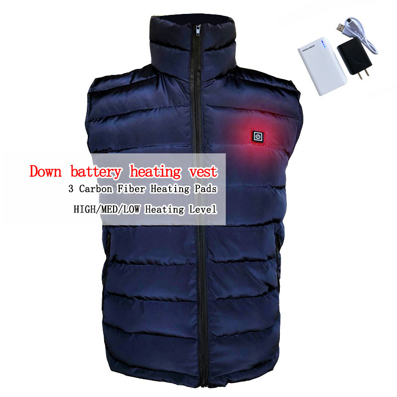NEW USB Power heating down vest winter outdoor man vest Keep the body warm for skiing camping BLUE BLACK size s-xxxl