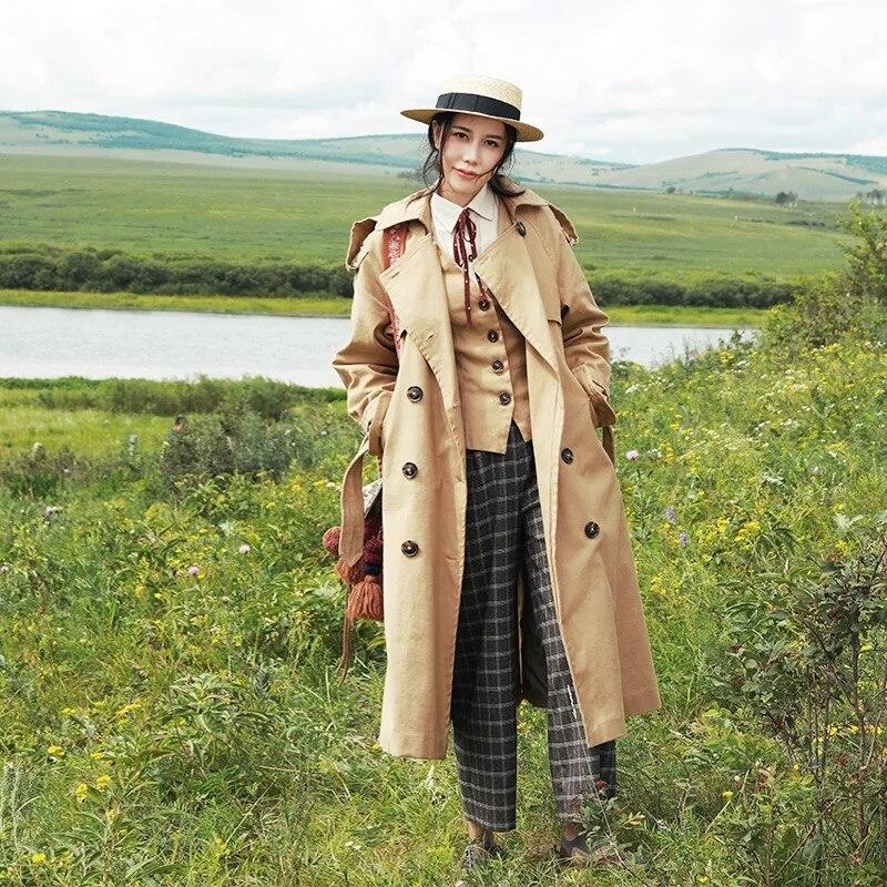 Longues Lâche Mode Mx219 Casual Automne Femmes Kaki Angleterre Arrivée Trench Manteau 2017 Style Classique Nouvelle FK1c3JlT