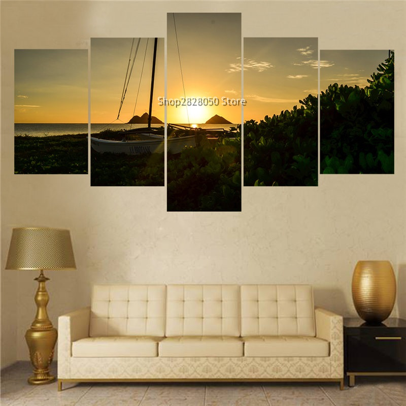 TOP Quality 5 Panels Classical Seacape Scenery Picture Print Painting  Canvas Wall Art Wall Decoration Ideas For Kitchen