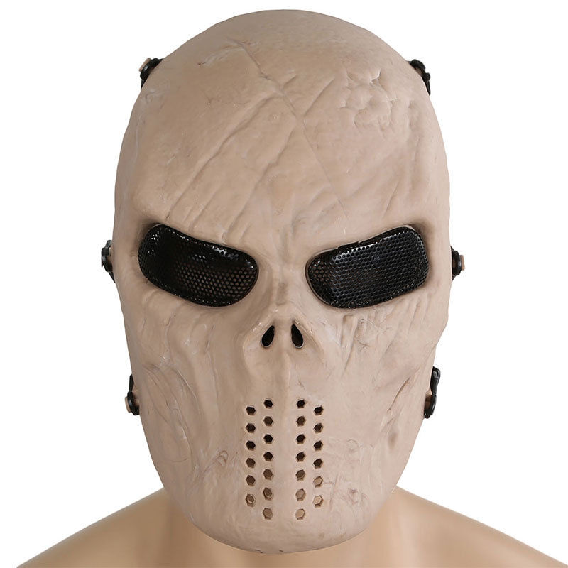 Outdoor Tactical Military M06 Airsoft Paintball Skull Ghost Full Face Protective Mask CS Wargame Halloween Cosplay Party Sand